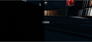 "Screenshot with interaction prompt (""Use Door"")"